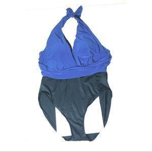 Vanishing Act two tone one piece swim suit